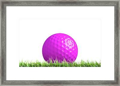 Lawn Hockey Ball Resting On Grass Framed Print by Allan Swart