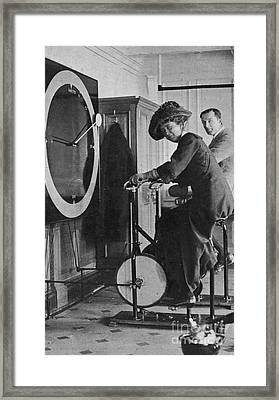 Lawrence Beesley In The Gymnastics Room Of The Titanic Framed Print