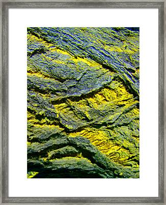 Framed Print featuring the photograph Layers In Blue And Yellow by Lenore Senior
