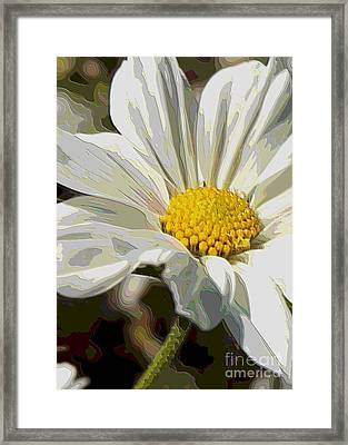 Layers Of A White Cosmos Flower - Digital Art Framed Print