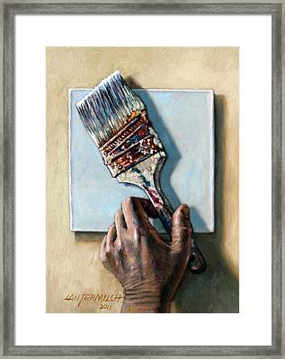 Laying Down The Paint Brush Framed Print