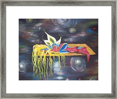 Laying  In Space Framed Print by Hollie Leffel