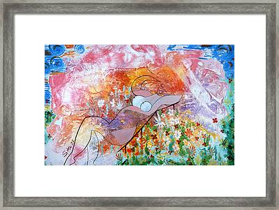 Framed Print featuring the painting Laying In The Garden by Sima Amid Wewetzer