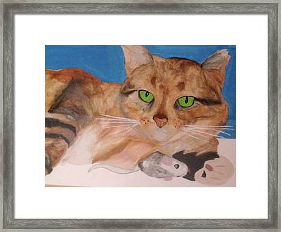 Framed Print featuring the painting Laze About by Rebecca Wood