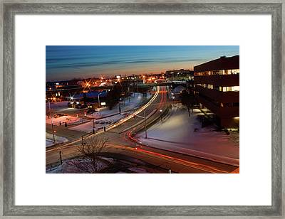 Framed Print featuring the photograph Lazer Lights In Bangor by Greg DeBeck