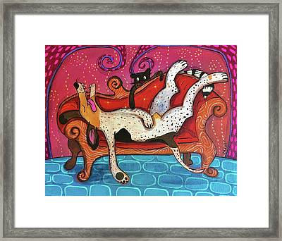 Framed Print featuring the painting Lazy Coonhound by Marti McGinnis
