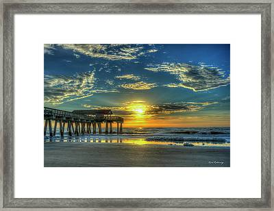 Framed Print featuring the photograph Lazy Days Of Summer Sunrise Tybee Island Pier Art by Reid Callaway