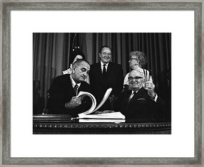 Lbjs Great Society Programs. President Framed Print