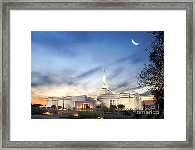 Lds Montreal Temple At Twilight Framed Print