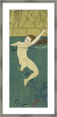 Le Bain Framed Print by Georges Barbier