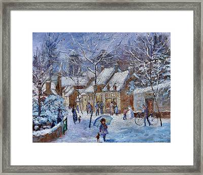 Le Cafe Breizh A Warm Welcome In The Winter Snow Framed Print by Jeanette Leuers