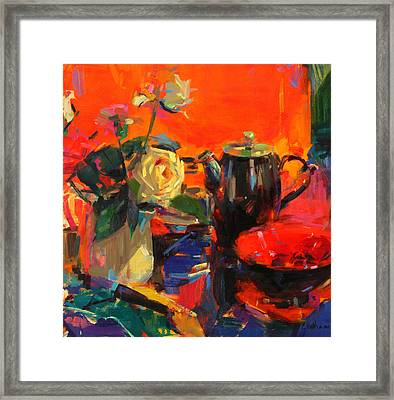 Le Cafe Framed Print by Peter Graham