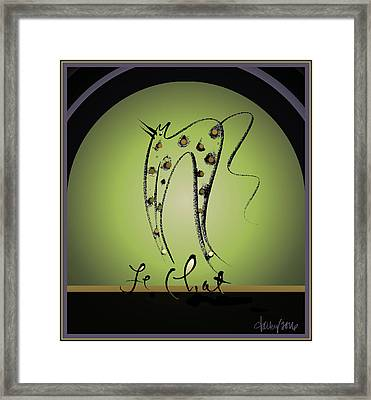 Le Chat - Green And Gold Framed Print