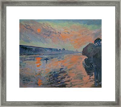 Le Coucher Du Soleil La Meuse Maastricht Framed Print