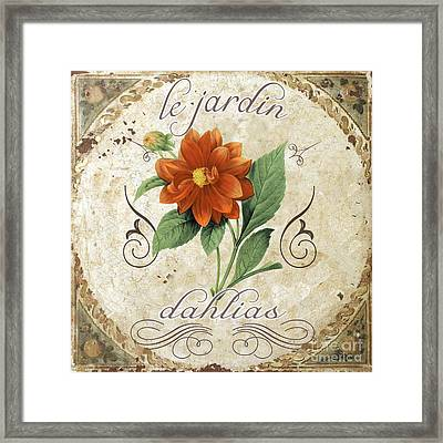 Le Jardin Dahlias Framed Print by Mindy Sommers