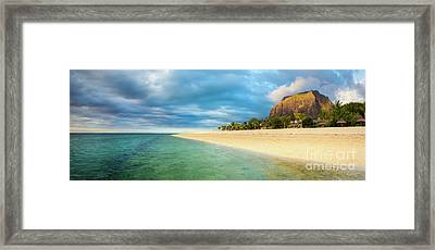 Le Morne Brabant At Sunset. Panorama Framed Print