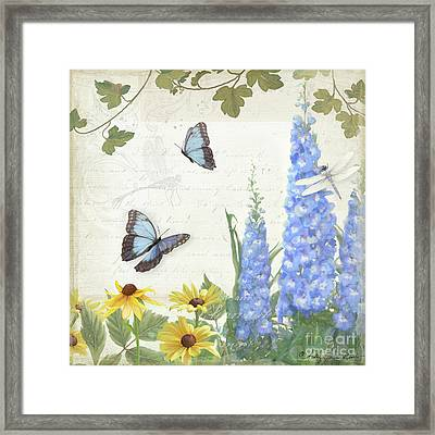 Le Petit Jardin 1 - Garden Floral W Butterflies, Dragonflies, Daisies And Delphinium Framed Print by Audrey Jeanne Roberts