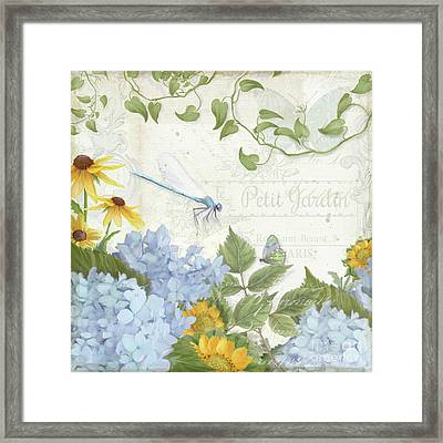 Framed Print featuring the painting Le Petit Jardin 2 - Garden Floral W Dragonfly, Butterfly, Daisies And Blue Hydrangeas by Audrey Jeanne Roberts