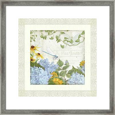 Framed Print featuring the painting Le Petit Jardin 2 - Garden Floral W Dragonfly, Butterfly, Daisies And Blue Hydrangeas W Border by Audrey Jeanne Roberts
