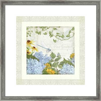 Le Petit Jardin 2 - Garden Floral W Dragonfly, Butterfly, Daisies And Blue Hydrangeas W Border Framed Print