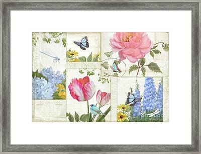 Framed Print featuring the painting Le Petit Jardin - Collage Garden Floral W Butterflies, Dragonflies And Birds by Audrey Jeanne Roberts