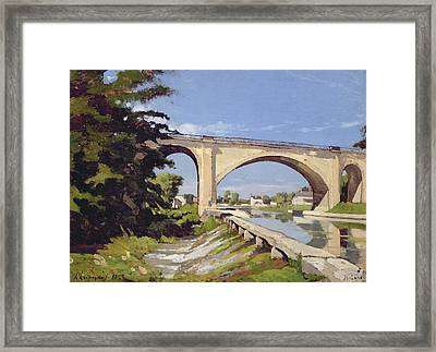 Le Pont Canal A Briare Framed Print by Henri Joseph Harpignies