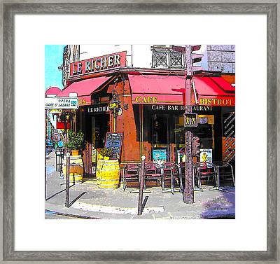 Le Richer Cafe Bar In Paris Framed Print by Jan Matson