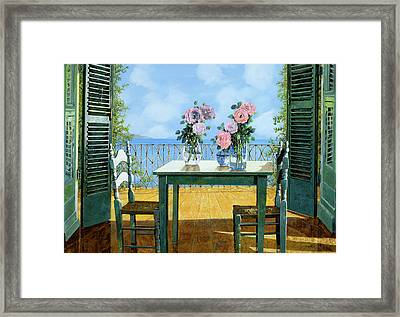 Le Rose E Il Balcone Framed Print by Guido Borelli