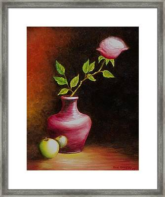Framed Print featuring the painting Le Rose by Gene Gregory