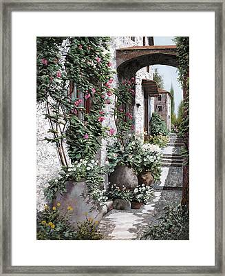 Le Rose Rampicanti Framed Print by Guido Borelli