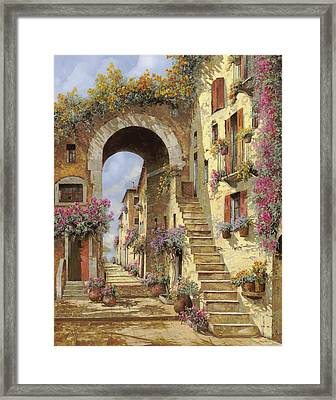 Le Scale E Un Arco Framed Print by Guido Borelli