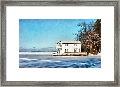 Leacock Boathouse In Winter Framed Print