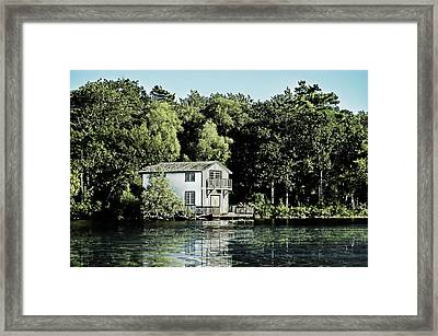 Leacock Boathouse Framed Print