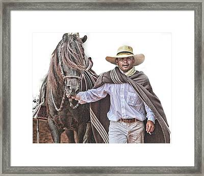 Framed Print featuring the photograph Leading To Competition Peruvian Horse by Toni Hopper