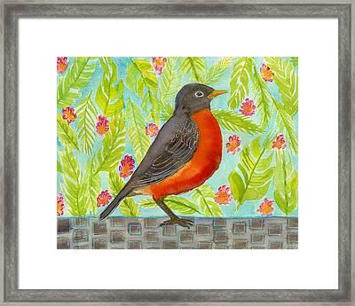 Leaf And Floral Robin Framed Print by Blenda Studio