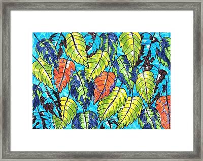Patterned Leaves Framed Print by Caroline Street