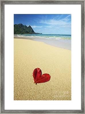 Leaf Heart On Beach Framed Print