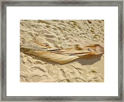 Framed Print featuring the digital art Leaf In The Sand by Francesca Mackenney