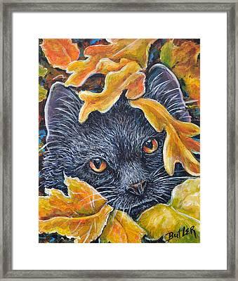Leaf Jumper Framed Print by Gail Butler
