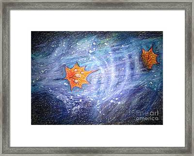 Leaf On The Water And Water On The Leaf Framed Print by C Ballal