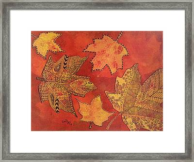 Leaf Prints And Zentangles Framed Print by Michelle Vyn