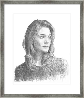 Leah Hager Cohen Pencil Portrait Framed Print by Mike Theuer