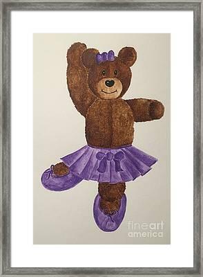 Framed Print featuring the painting Leah's Ballerina Bear 1 by Tamir Barkan