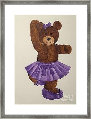 Framed Print featuring the painting Leah's Ballerina Bear 2 by Tamir Barkan