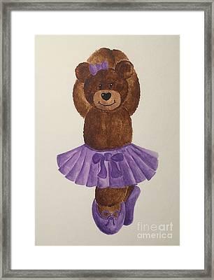 Framed Print featuring the painting Leah's Ballerina Bear 3 by Tamir Barkan
