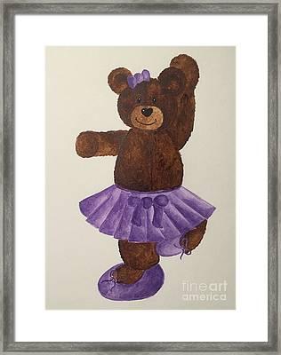 Framed Print featuring the painting Leah's Ballerina Bear 4 by Tamir Barkan