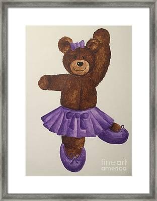 Framed Print featuring the painting Leah's Ballerina Bear 5 by Tamir Barkan