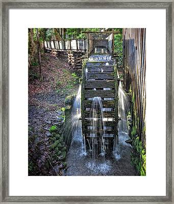 Framed Print featuring the photograph Leaky Mill Wheel by Alan Raasch