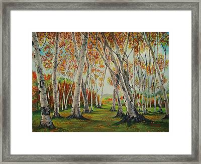 Leaning Birches Framed Print by Charles Hetenyi