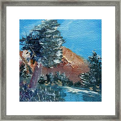 Leaning Pine Tree Landscape Framed Print